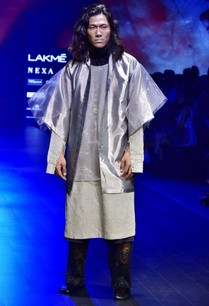 black-grey-organza-glass-nylon-kurta-with-trousers