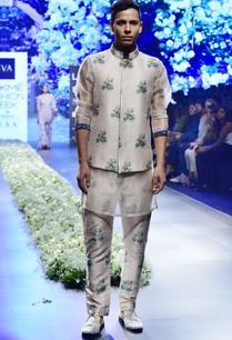 beige-blue-raw-silk-organza-sequince-kurta-with-pants