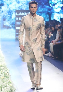 beige-blue-raw-silk-dahlia-print-sherwani-with-pleated-pants