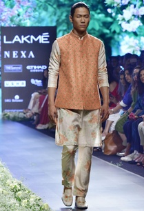 beige-silk-dahlia-print-kurta-with-pleated-pants