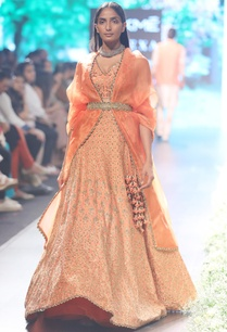 orange-raw-silk-organza-embroidered-lehenga-with-tea-green-belt