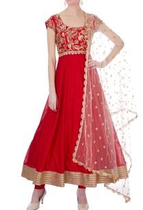 red-raw-silk-chanderi-hand-embroidered-anarkali-set