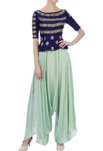 navy-blue-light-blue-raw-silk-satin-silk-peplum-blouse-with-dhoti-pants