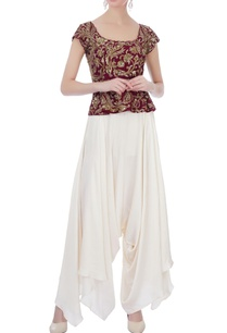 maroon-off-white-raw-silk-satin-silk-peplum-blouse-with-dhoti-pants