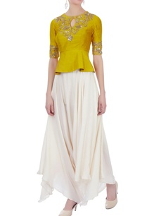 yellow-off-white-raw-silk-satin-silk-peplum-blouse-with-dhoti-pants