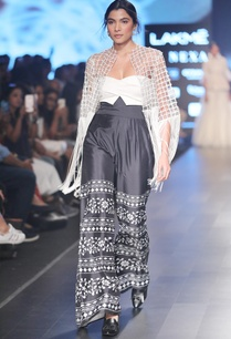 white-black-tassel-jacket-with-pants-bustier-blouse