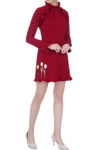wine-moss-crepe-embroidered-dress