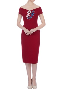 wine-micro-fabric-embroidered-dress