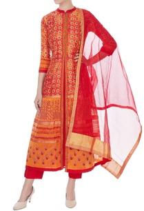 red-orange-silk-chanderi-printed-long-kurta-with-pants