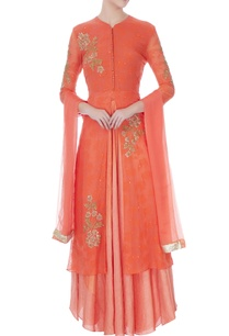 orange-red-chiffon-hand-embroidery-kurta-skirt-and-dupatta