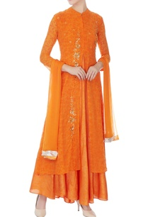 orange-chiffon-embroidered-long-kurta-with-dupatta