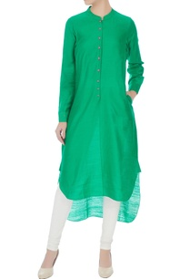 green-chanderi-hand-block-printed-kurta