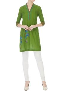 green-south-cotton-hand-block-printed-short-kurta