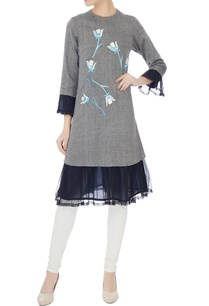 grey-floral-embroidered-kurta-with-net-frill-layer