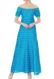 blue-striped-off-shoulder-maxi-dress