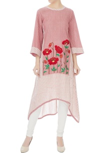 red-white-khadi-cotton-resham-embroidered-kurta