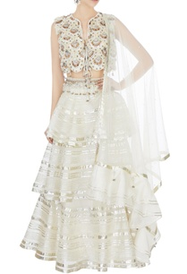 cream-tiered-lehenga-with-hand-embroidered-blouse-dupatta