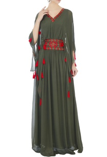 khaki-green-long-georgette-kaftan