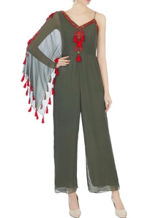 khaki-green-one-shoulder-bead-hand-embroidered-jumpsuit