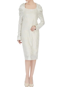 beige-chanderi-lace-puff-sleeve-midi-dress