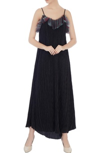 black-pleated-spaghetti-strap-slip-dress