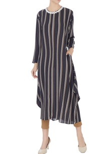 black-cream-stripe-printed-asymmetric-tunic