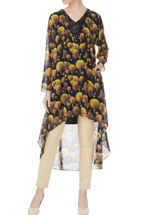 black-multi-printed-georgette-high-low-kurta