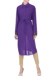 purple-georgette-shirt-style-tunic-with-inner-belt
