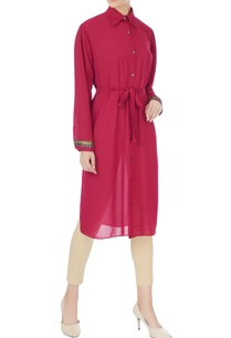 deep-pink-georgette-style-tunic-with-belt-inner