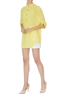 yellow-georgette-chinese-collar-top