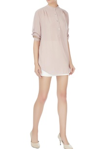 beige-georgette-chinese-collar-blouse