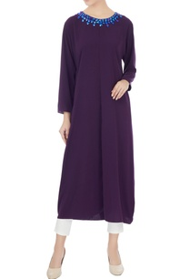 dark-purple-thick-crepe-kurta