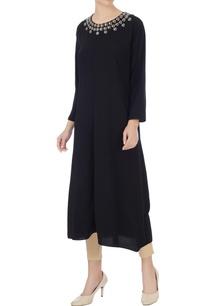 black-crepe-silk-long-kurta
