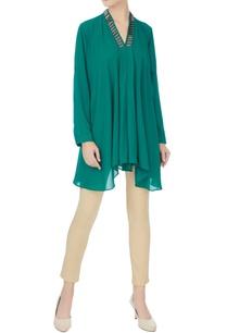 green-stone-embroidered-neckline-georgette-tunic