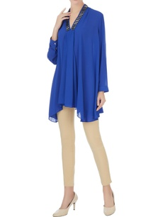 royal-blue-georgette-box-pleated-short-tunic