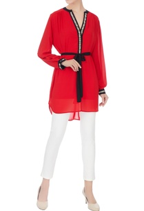 red-georgette-high-low-tunic