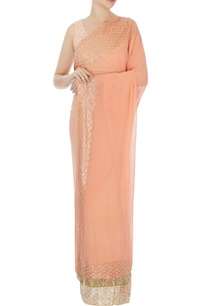 peach-georgette-embroidered-sari-blouse