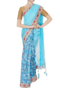 blue-chanderi-handwoven-linen-printed-sari-with-unstitched-blouse