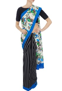 black-white-floral-pallu-linen-sari-with-unstitched-blouse