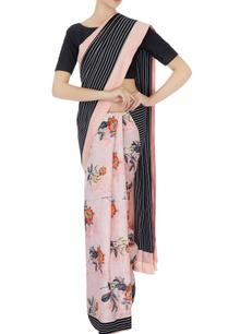 black-white-stripe-sari-with-unstitched-blouse