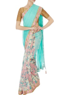 blue-chanderi-silk-sari-with-embroidered-pearl-border-blouse-piece