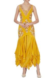 yellow-crepe-satin-embroidered-kurta-set