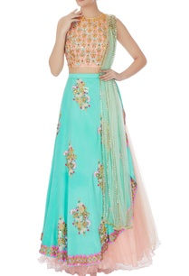 peach-mint-blue-embellished-lehenga-with-dupatta-set