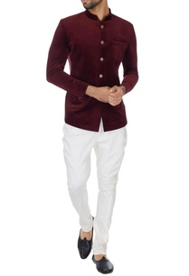 maroon-pure-velvet-buttoned-bandhgala