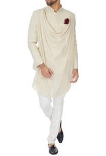 ivory-draped-matka-silk-bandhgala-with-mother-of-pearl-buttons