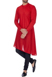 red-asymmetric-poly-knit-kurta