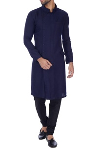 navy-blue-cross-over-button-down-kurta