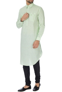 light-green-cotton-silk-pathani-kurta