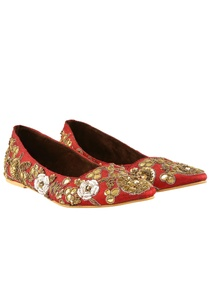 maroon-raw-silk-sequin-embroidered-ballet-flats