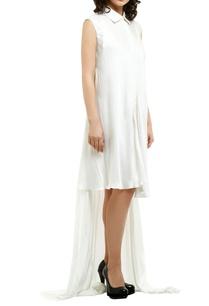 white-satin-asymmetric-shirt-dress